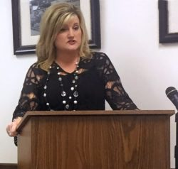 Mary Lou Perry discusses the Edwards Educational Services model with the Wayne County Board of Education  Tuesday. WCN photo by Nikki Dotson Merritt